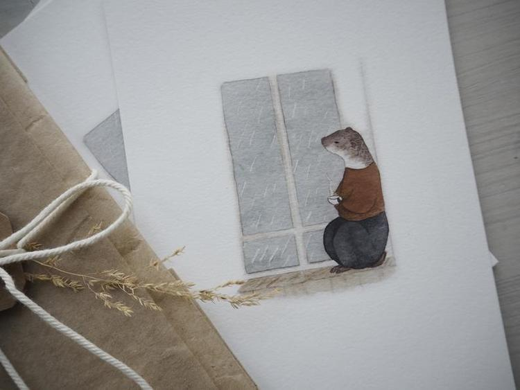 Enkelt konstkort - Tankar en regnig dag (Fraktfritt)