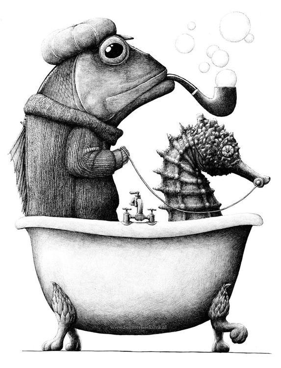 Enkelt konstkort - Ridande badkarsfisk (Fraktfritt)