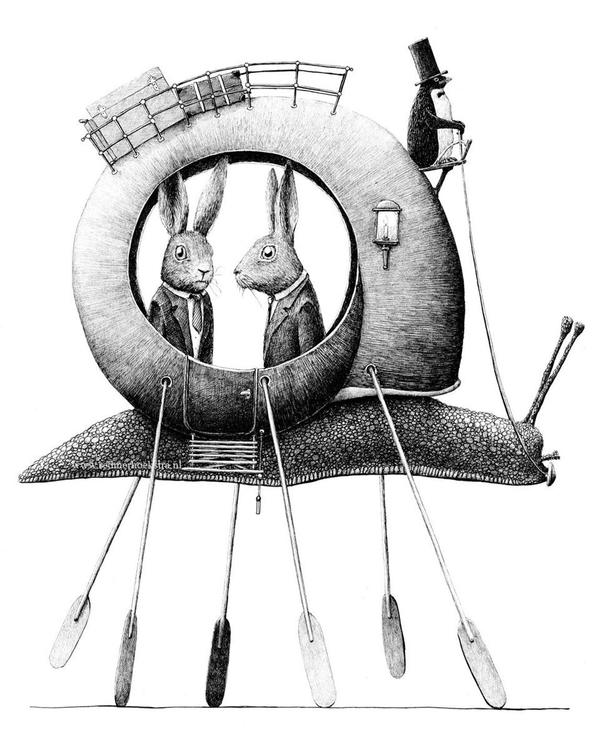 Enkelt konstkort - Snigeltransport (Fraktfritt)