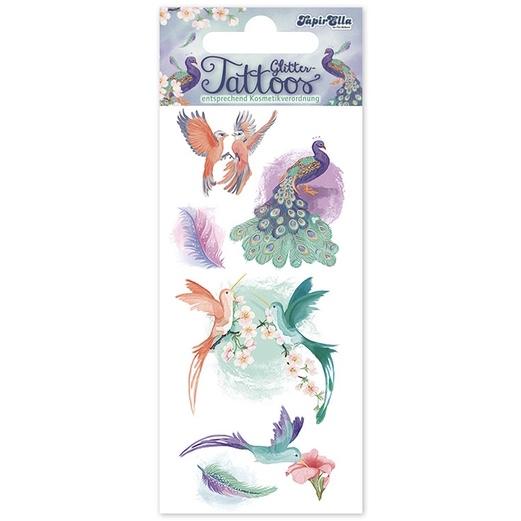 Tatueringar - Sagolika fåglar med glitter (Fraktfritt)
