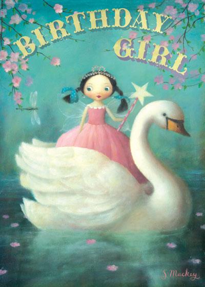 Kort med kuvert - Flickan och svanen (Fraktfritt)