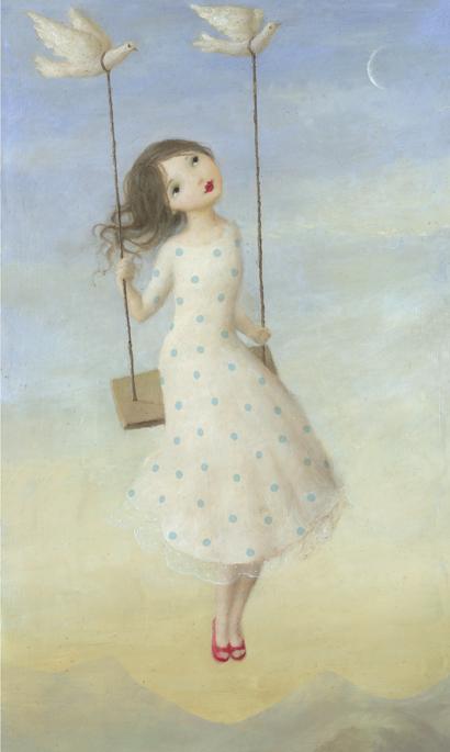 Kort med kuvert - Flickan i gungan (Fraktfritt)