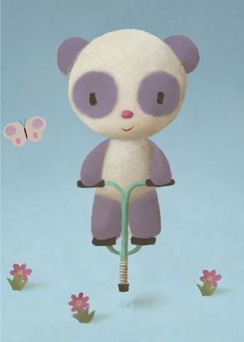 Kort med kuvert - Studsande panda (Fraktfritt)