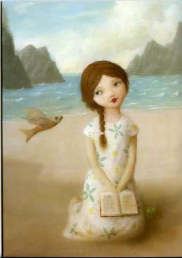 Litet kort med kuvert flickan på stranden av Stephen Mackey