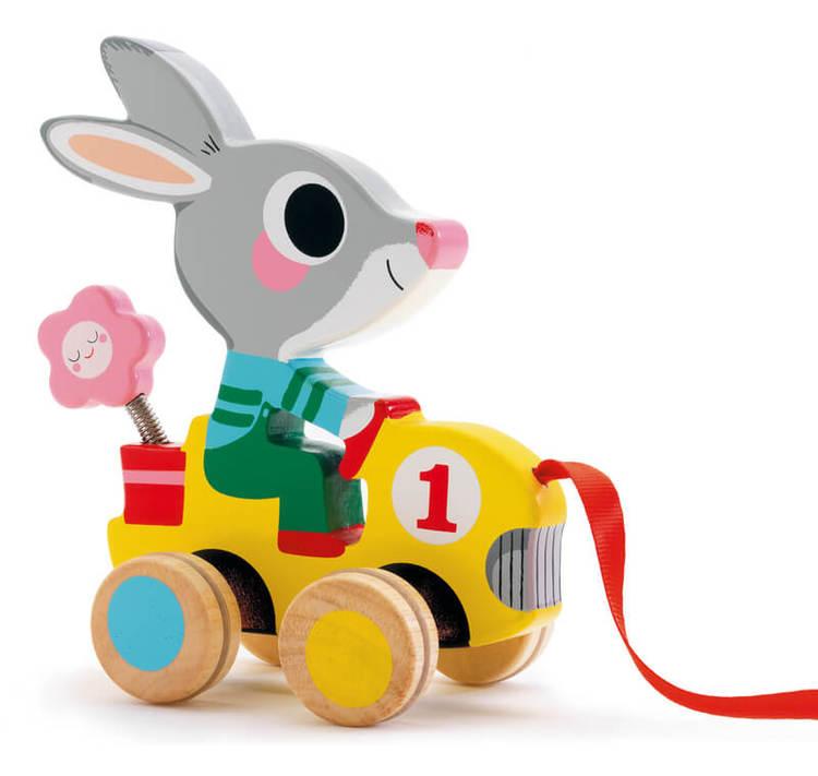 Kanin i bil- dragleksak från Djeco