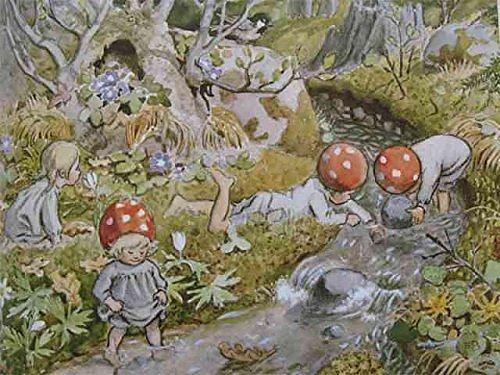 Enkelt kort - Tomtebobarnen - Lek vid bäcken