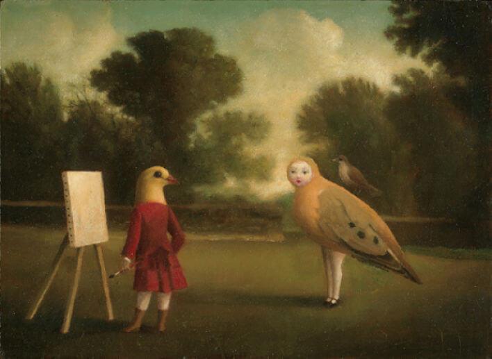 Kort med kuvert - Konstnären och fågeln (Fraktfritt)