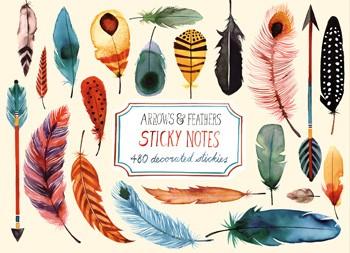 Sticky notes eller post-it lappar med fjädrar