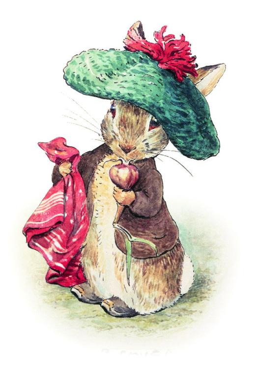 Litet kort med kuvert - Kaninen med hatten (Fraktfritt)