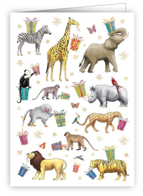 Litet kort med kuvert - Djurens grattulationer (Fraktfritt)