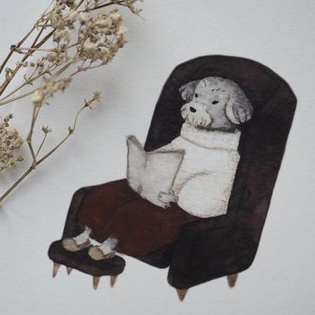 Enkelt konstkort - Morfar hund (Fraktfritt)