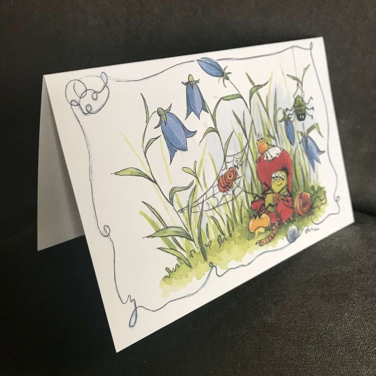 Dubbelt kort utan kuvert -Virka spindelnät (Fraktfritt)