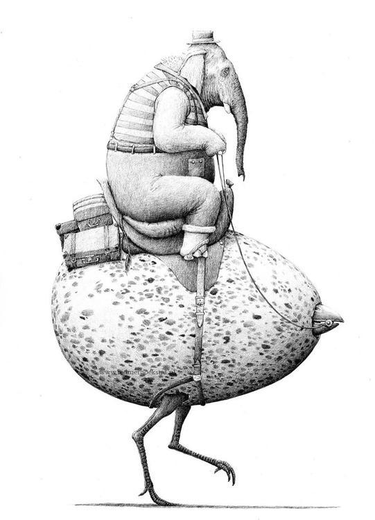Enkelt konstkort - Elefantägget (Fraktfritt)