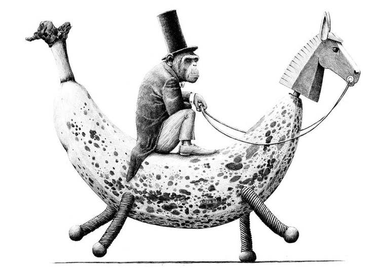 Enkelt konstkort - Apan och Bananhästen (Fraktfritt)