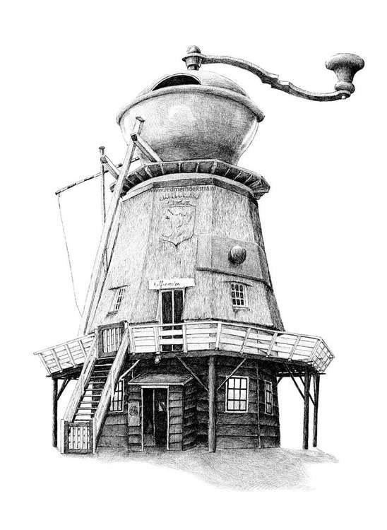 Enkelt konstkort - KaffeKvarn (Fraktfritt)