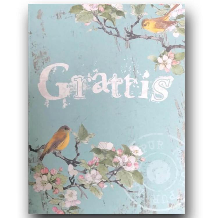 Dubbelt kort med kuvert -Grattis! (Fraktfritt)