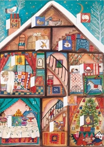 Liten Adventskalender som julkort - Jul i huset