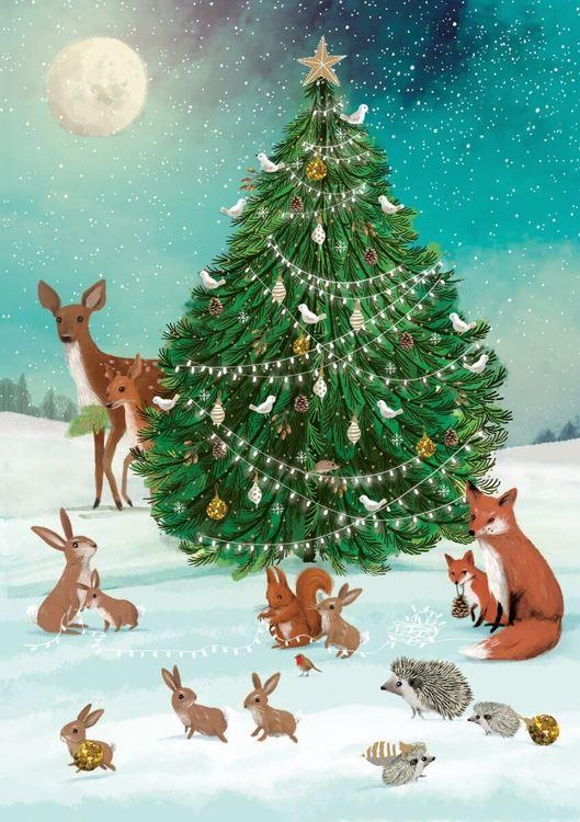 Liten Adventskalender som julkort - Djuren vid granen