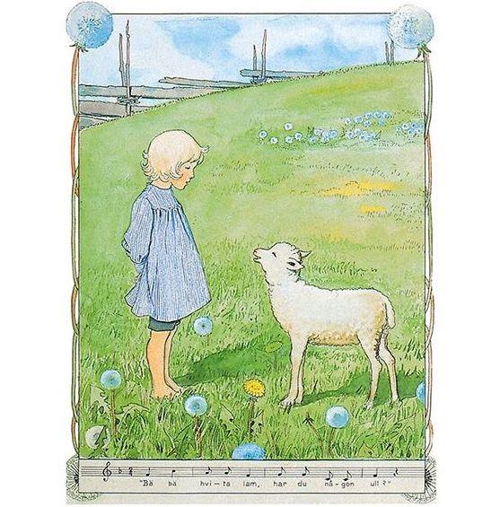Enkelt Kort - Bä bä vita lamm (Fraktfritt)