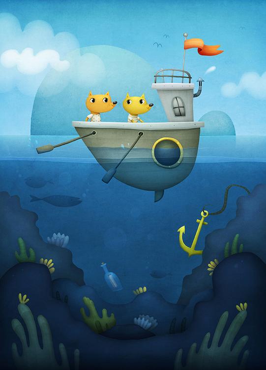 Enkelt konstkort - Båtfärden (Fraktfritt)
