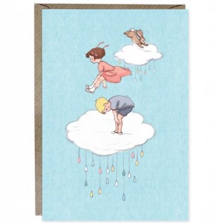 Kort med kuvert - Hopp bland molnen (Fraktfritt)