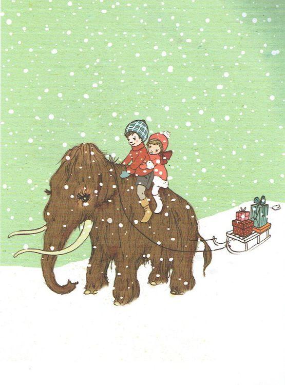 Enkelt Kort - Mammut i snön (Fraktfritt)