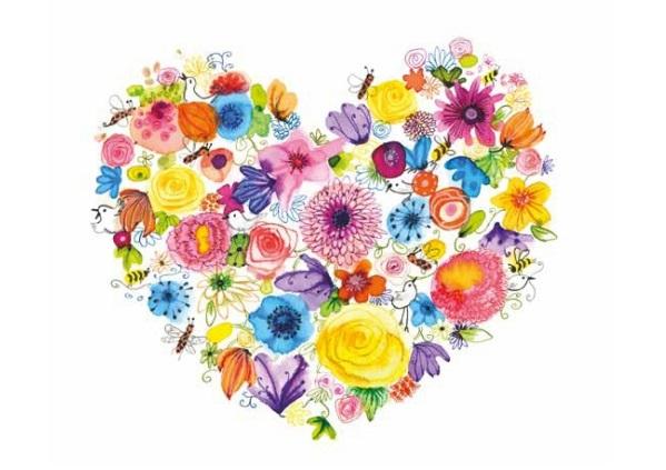 Kort med kuvert - Blomstrande hjärta (Fraktfritt)