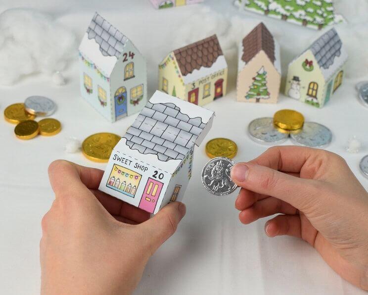 Julkalender vika ihop små hus