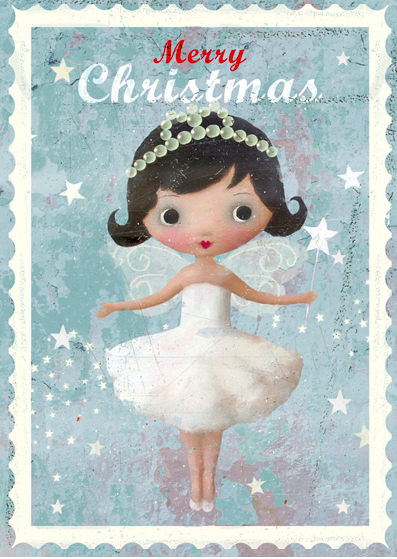 Kort med kuvert - Änglalik jul (Fraktfritt)