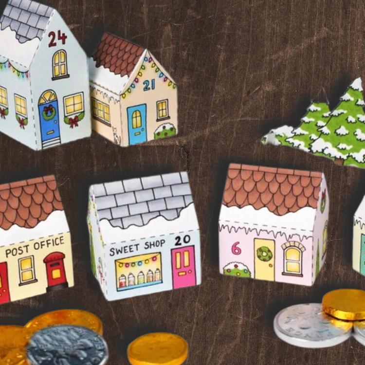 Adventskalender Vinterbyn - vika ihop hus