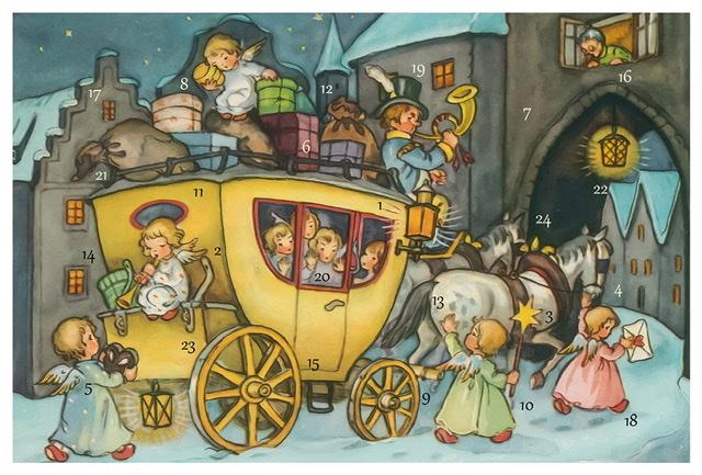 Små Adventskalendrar som jukort - Äldre motiv - Massor att välja bland (Fraktfritt)