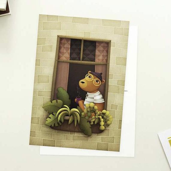 Enkelt konstkort - Björnen i fönstret (Fraktfritt)