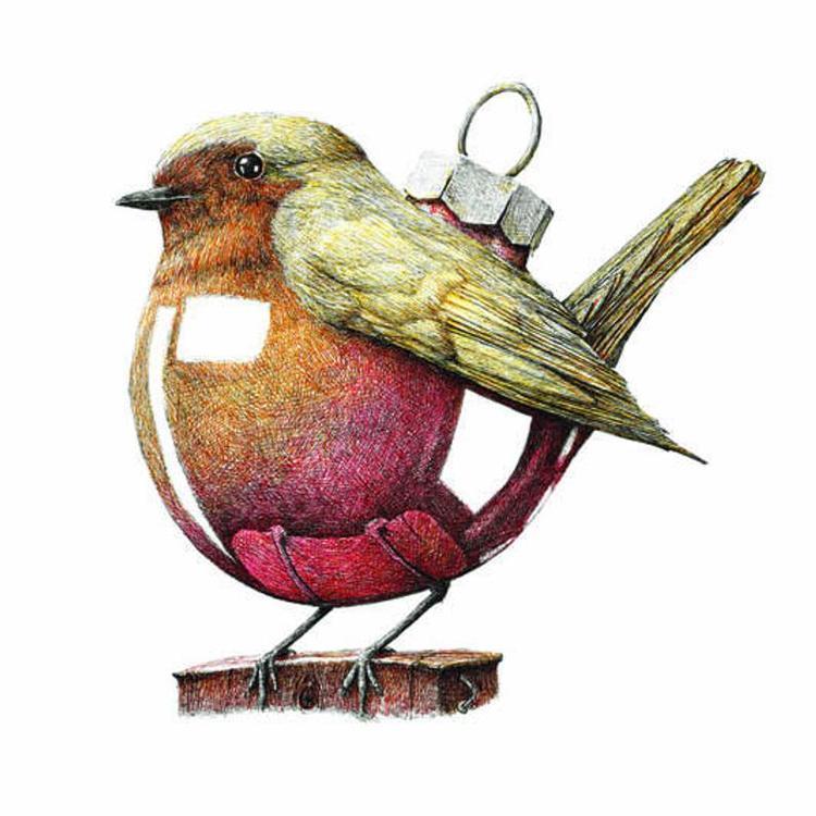 Större Enkelt konstkort - FågelKulan (Fraktfritt)
