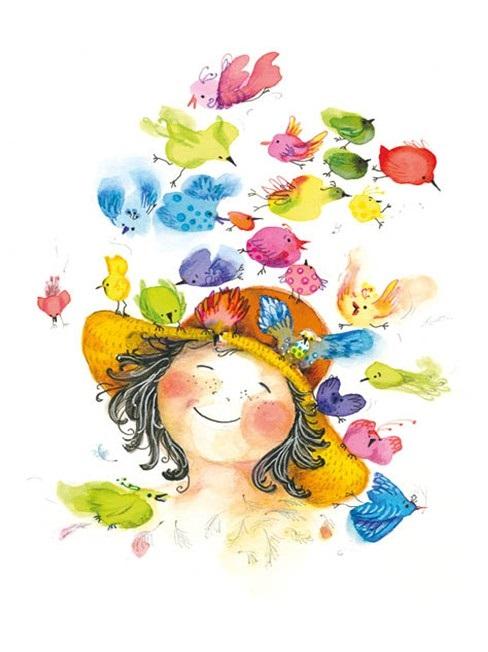 Kort med kuvert - Färgfest kring min hatt (Fraktfritt)