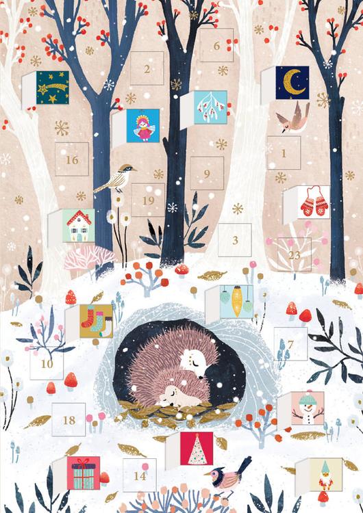 Liten Adventskalender som julkort - Igelkottarna