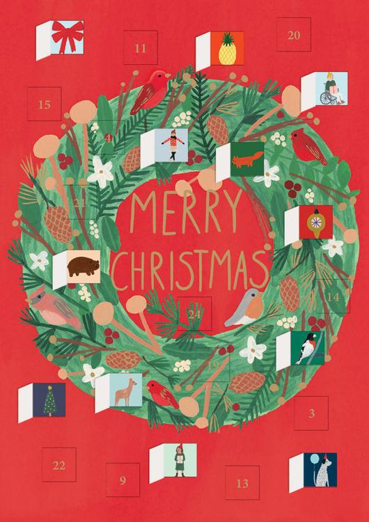 Liten Adventskalender som julkort - Julkrans