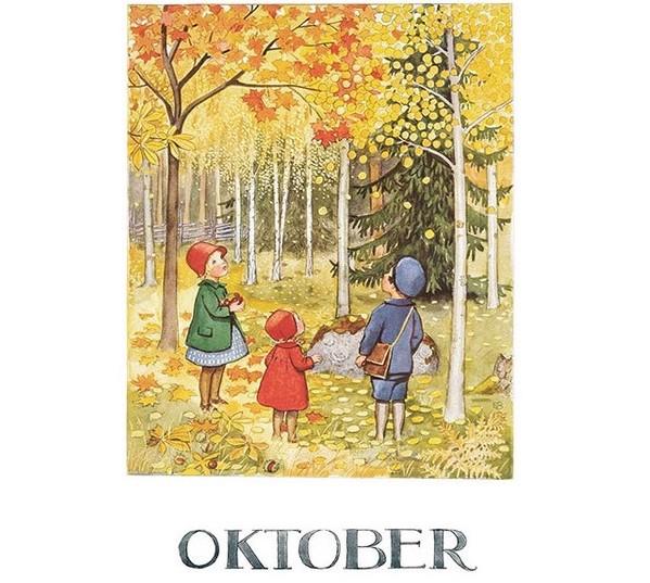 Enkelt Kort av Elsa Beskow - Oktober (Fraktfritt)