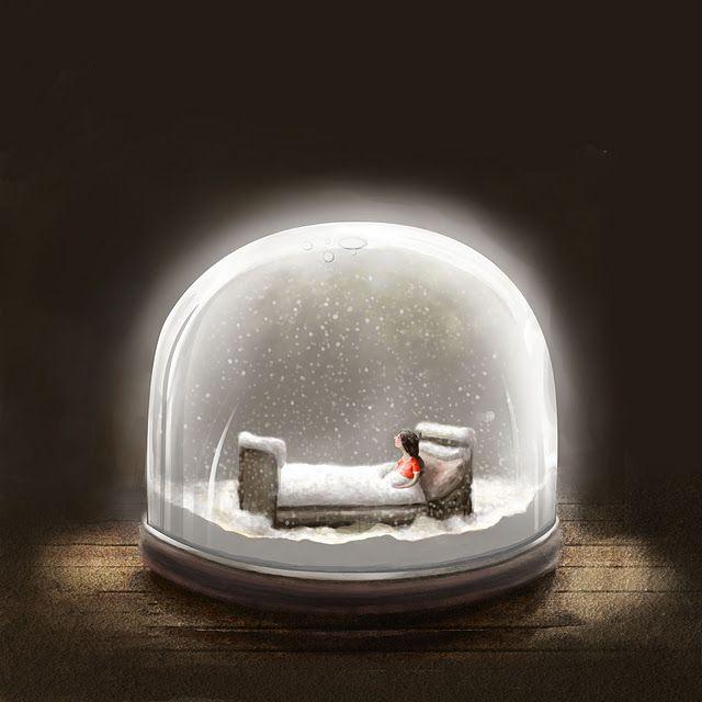 Enkelt Kort - Snögloben (Fraktfritt)
