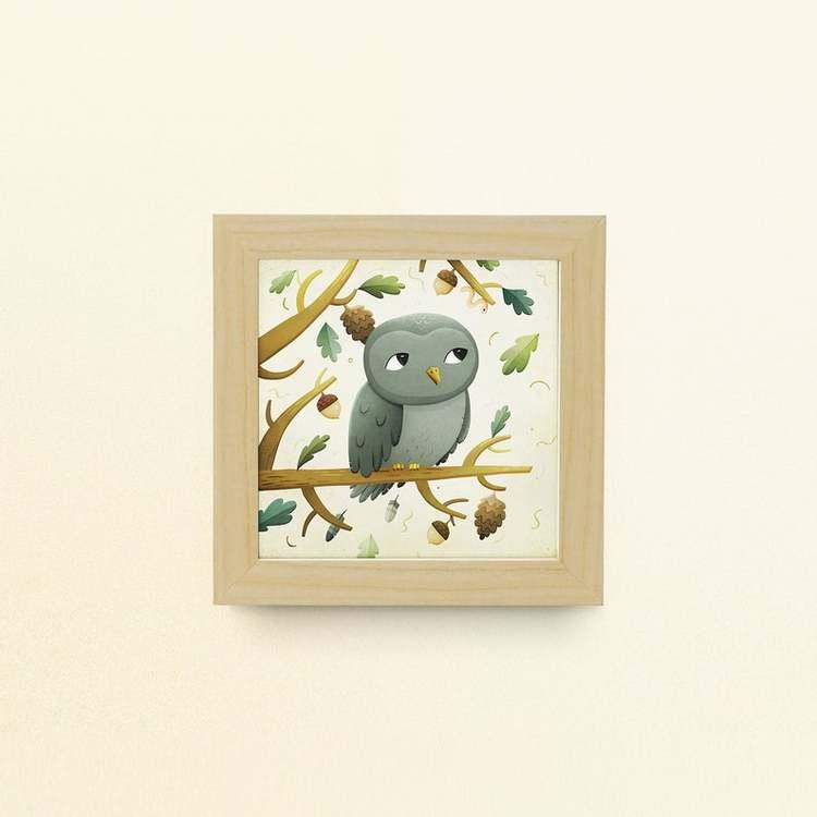 Enkelt konstkort - Ugglan (Fraktfritt)