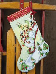 Dimensions - Sledding Snowmen Stocking