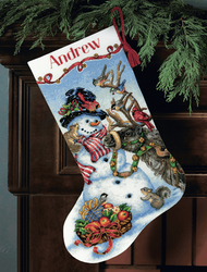 Dimensions Gold  - Snowman Gathering Stocking