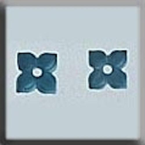 Glass Treasures 12187 4 Petal Flower Matte Aqua