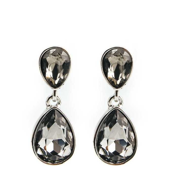 Örhängen - Glam double drop - Black diamond silver