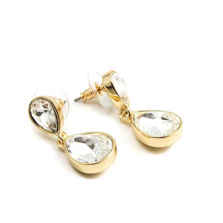 Örhängen - Glam double drop - Crystal Diamond Gold