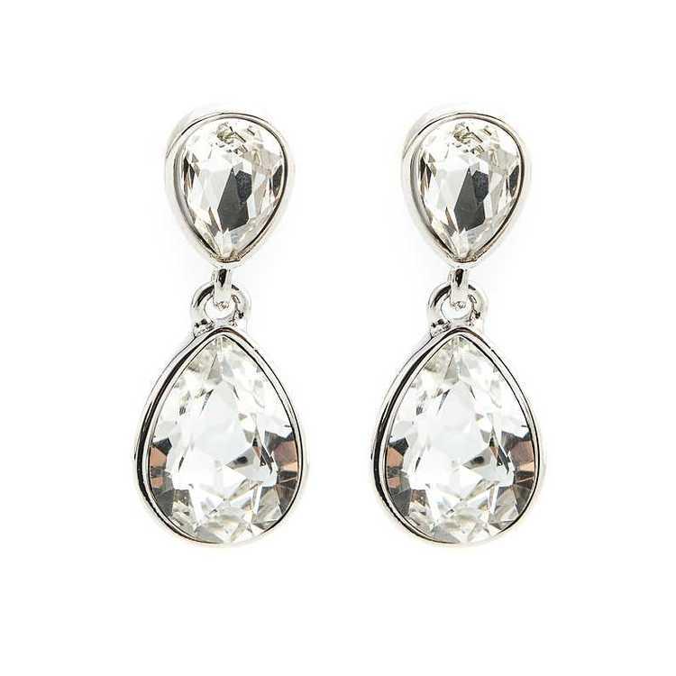Örhängen - Glam double drop - Crystal Diamond Silver
