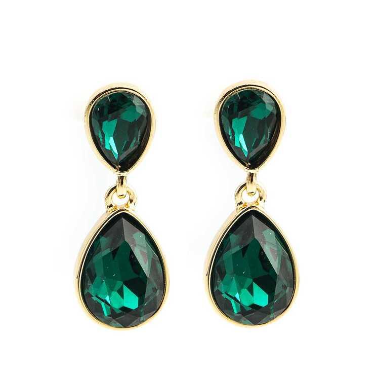 Örhängen - Glam double drop - Emerald Green Gold