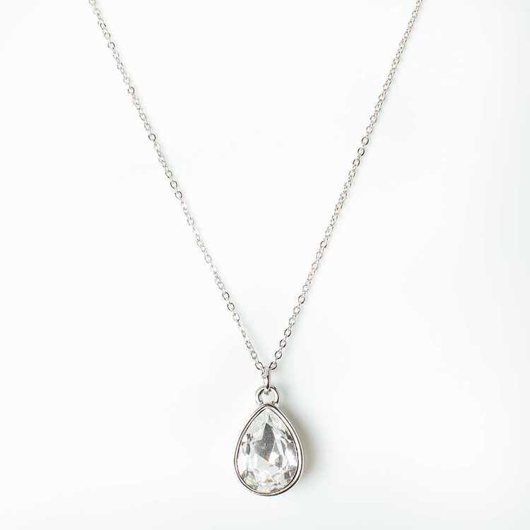 Halsband - Glam Drop - Crystal Silver