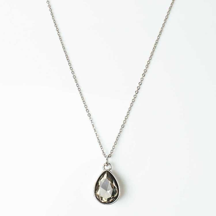 Halsband - Glam Drop - Smoke Silver