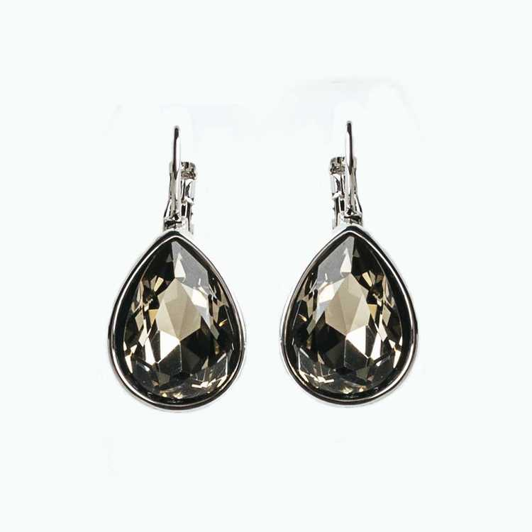 Örhängen - Glam Teardrop - Black Diamond Silver
