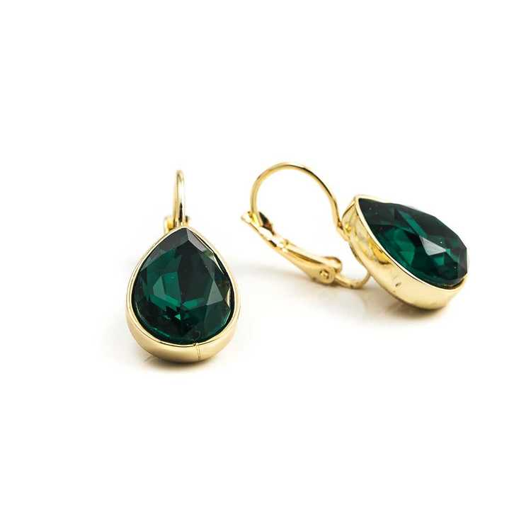 Örhängen - Glam Teardrop - Emerald Green Gold
